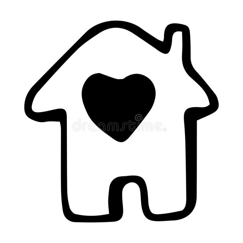 Hand Drawn home icon doodle. Sketch style icon. Decoration element. Isolated on white background. Flat design. Vector illustration vector illustration