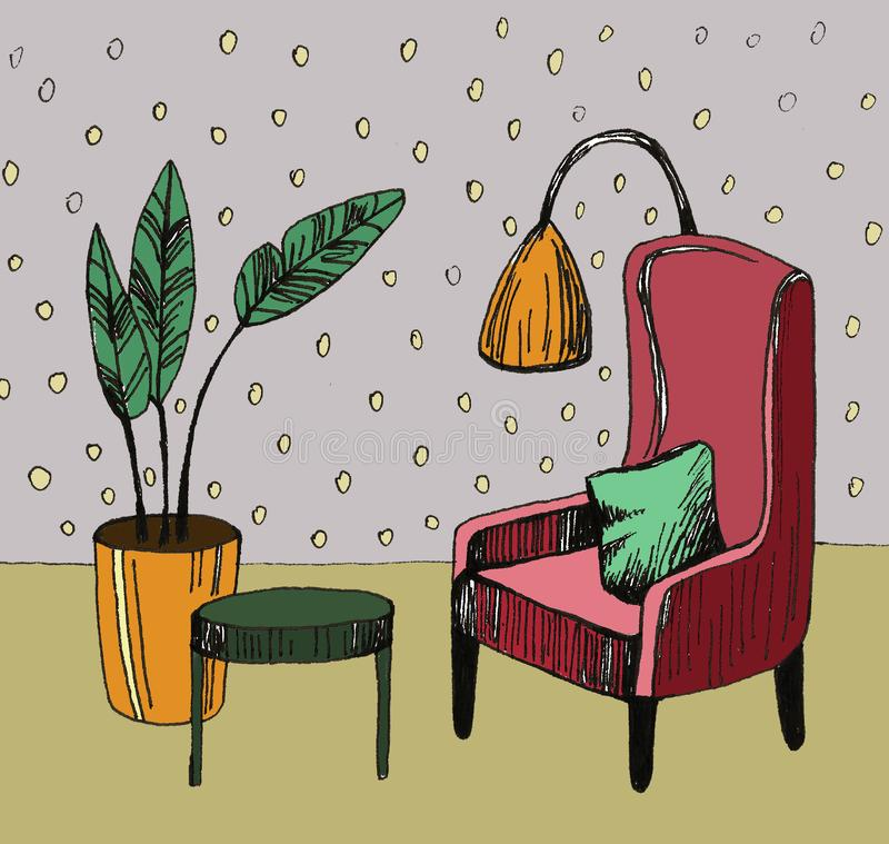 Hand drawn home interior sketch with armchairs, flower in a pot and lamp. Colored illustration. Hand drawn home interior sketch with armchairs, flower in a pot royalty free stock photo