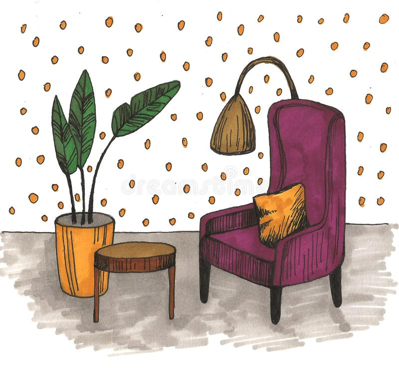 Hand drawn home interior sketch with armchairs, flower in a pot and lamp. Colored illustration. Hand drawn home interior sketch with armchairs, flower in a pot stock image