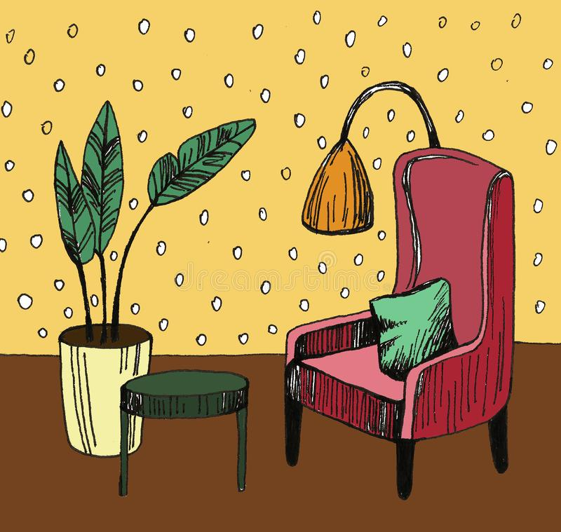 Hand drawn home interior sketch with armchairs, flower in a pot and lamp. Colored illustration. Hand drawn home interior sketch with armchairs, flower in a pot stock photography