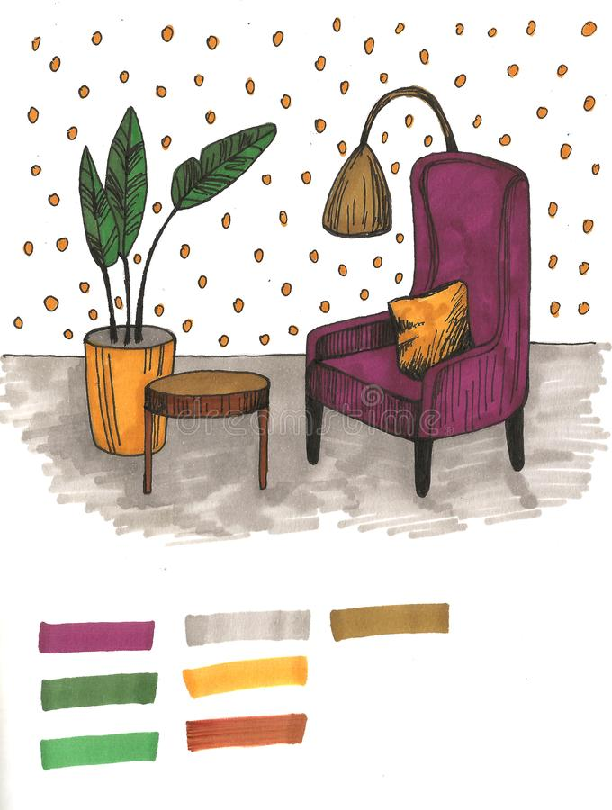 Hand drawn home interior sketch with armchairs, flower in a pot and lamp. Colored illustration. Hand drawn home interior sketch with armchairs, flower in a pot royalty free stock image