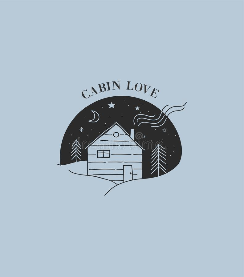 Hand drawn home, wooden cabin logo, icon. royalty free illustration