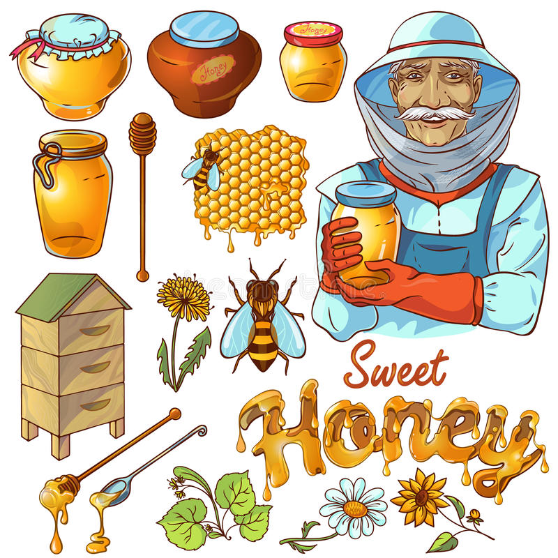 Hand Drawn Honey Icon Set vector illustration
