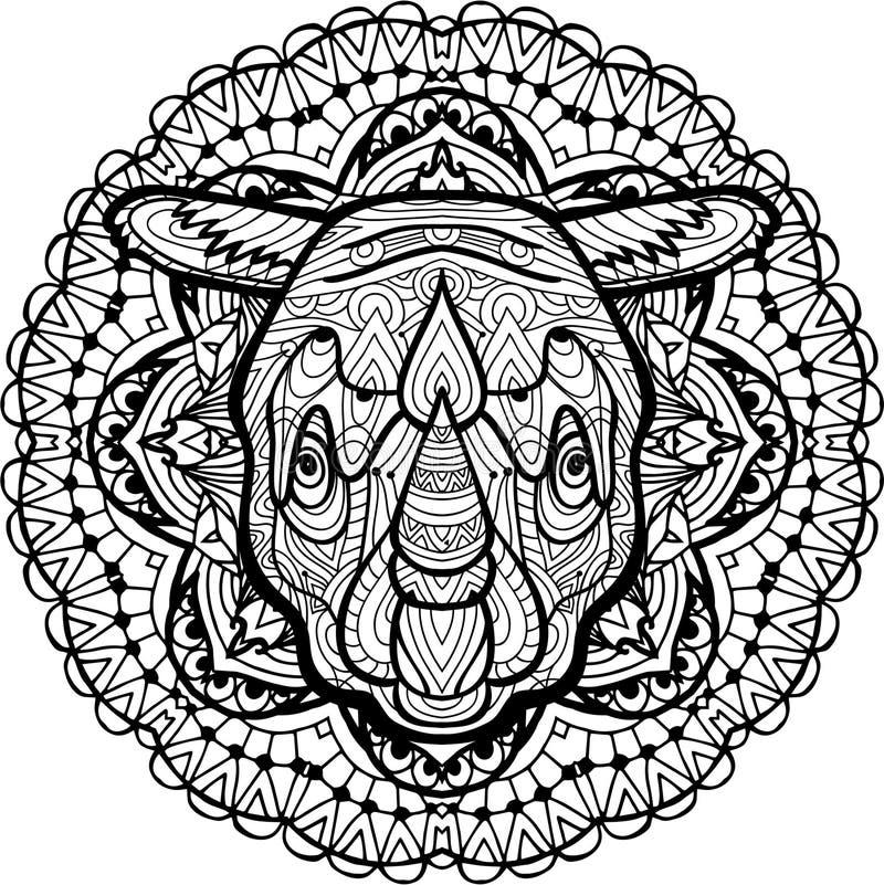 Hand-drawn hoofd van een Rinoceros op het cirkel stammenpatroon als achtergrond kleuring stock illustratie