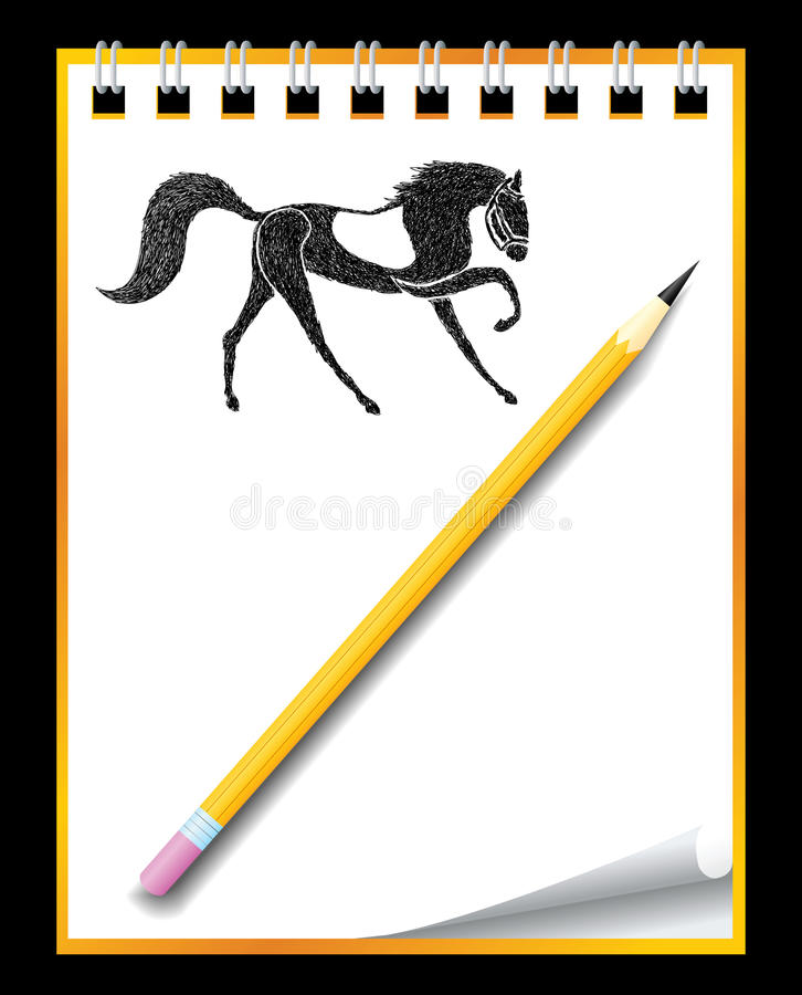 Download Hand Drawn Horse In Notebook Stock Vector - Image: 21972130