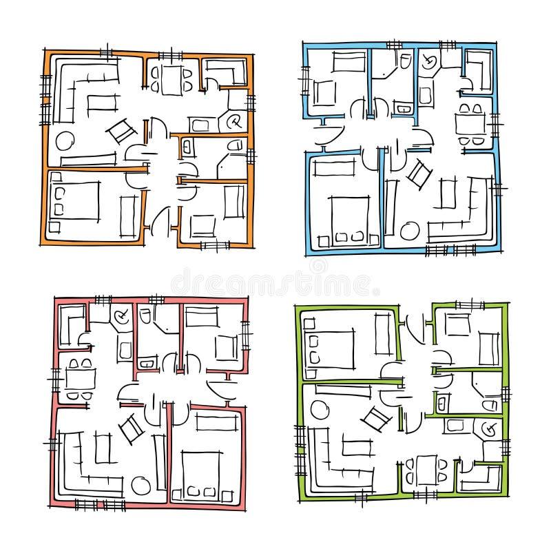 Hand drawn house plans stock photo. Illustration of architect - 41206986
