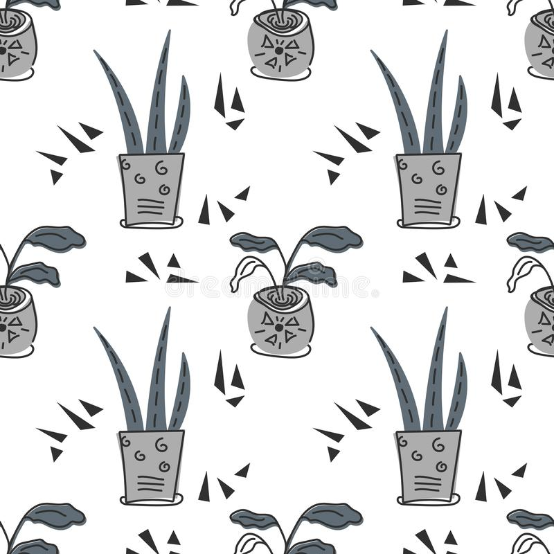 Hand drawn house plants. Scandinavian style illustration, seamless pattern for fabric, wallpaper or wrap paper stock illustration
