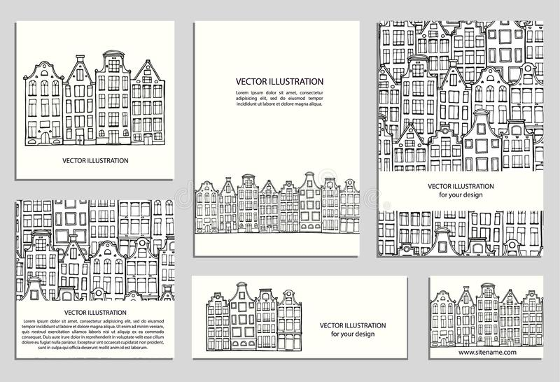 Hand drawn houses set. Hand drawn house, card template collection. Drawing cards templates. Set design elements. Doodle scandinavian Amsterdam houses. Vector vector illustration