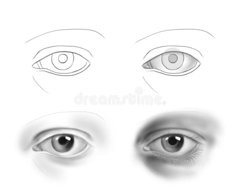 Hand-drawn human eye - step by step drawing guide concept series stock image
