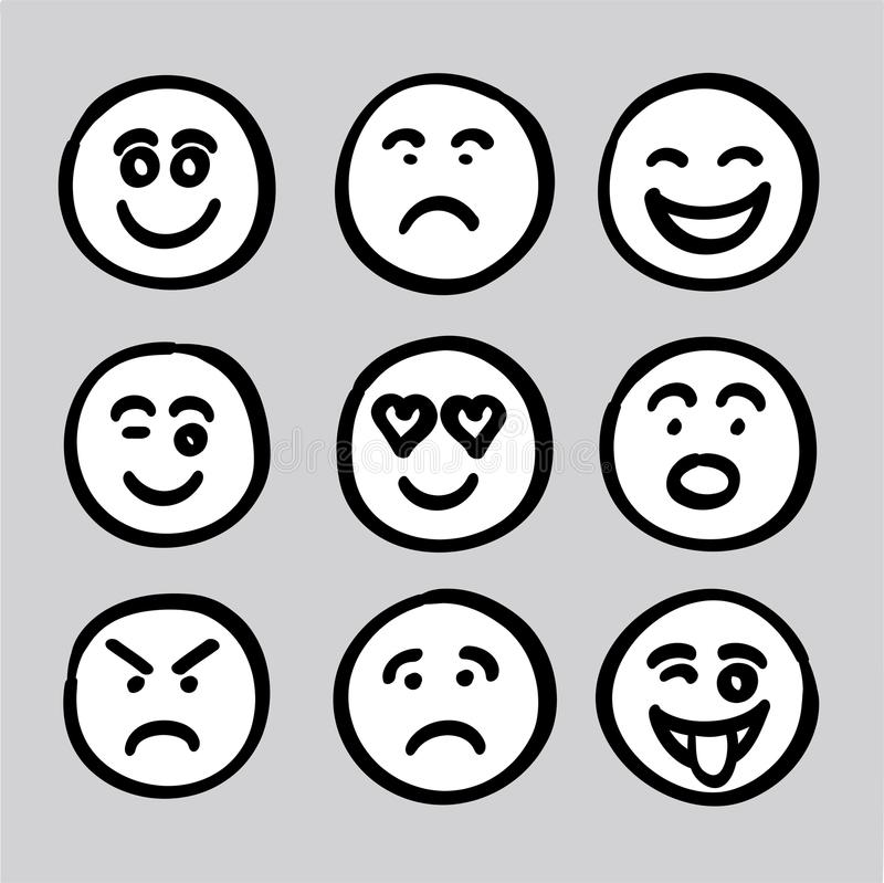 Hand drawn human face expressions icons collection set vector gr vector illustration