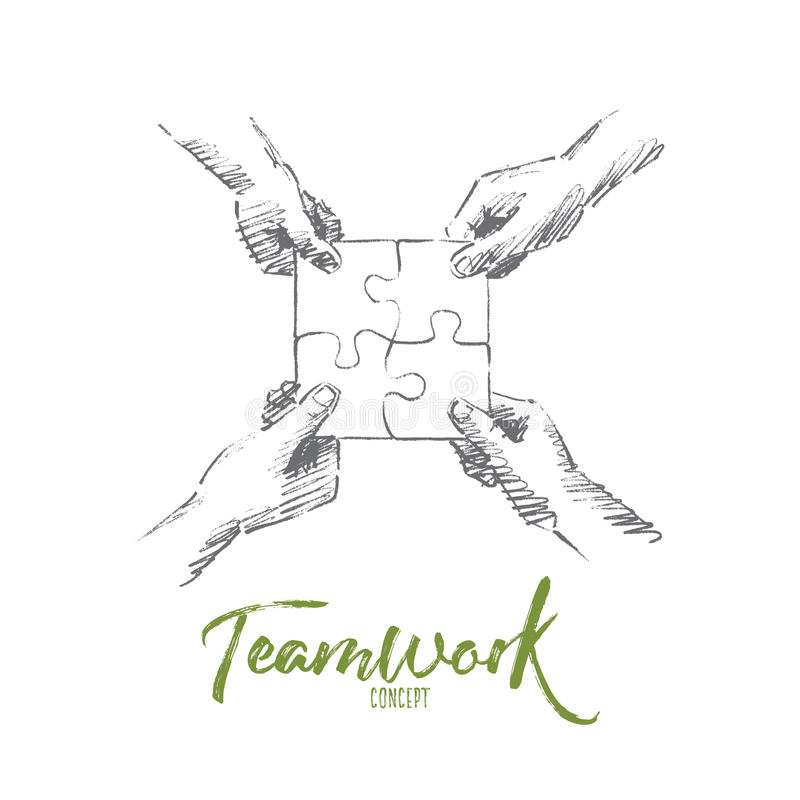 Hand drawn human hands folding puzzle, lettering stock illustration