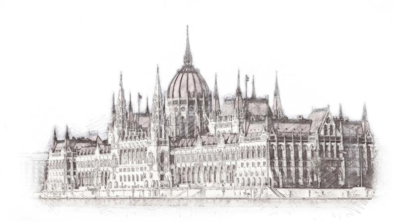 Hand drawn Hungarian parliament in Budapest. Illustration. Isolated on white background. Texture stock illustration