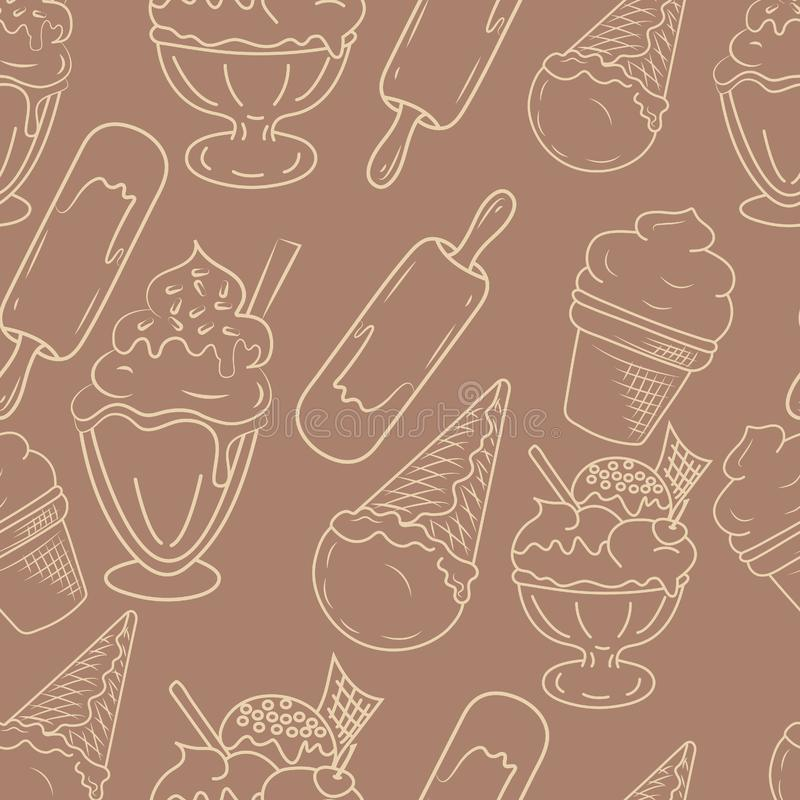 Hand drawn ice cream seamless pattern. Perfect funny vector background. stock image