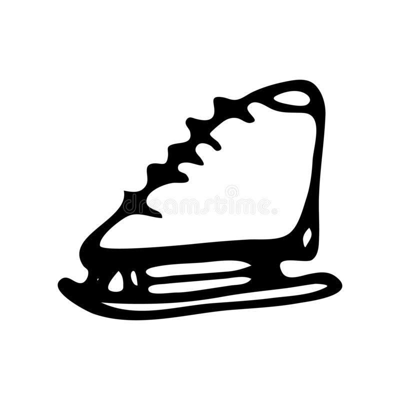 Hand drawn ice skates doodle. Sketch winter icon. Decoration element. Isolated on white background. Vector illustration stock illustration