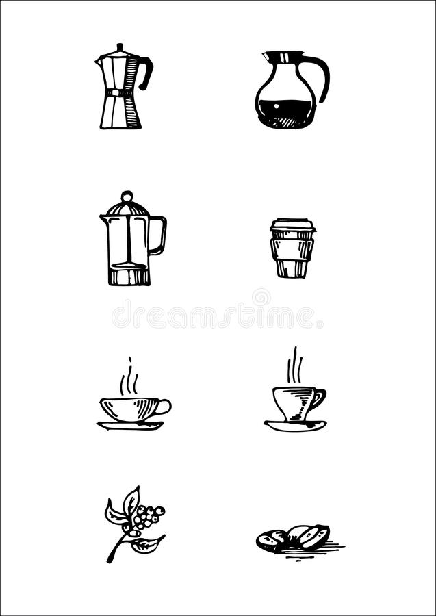 Hand drawn icon set of coffee elements for cafeteria menu or sign stock photo