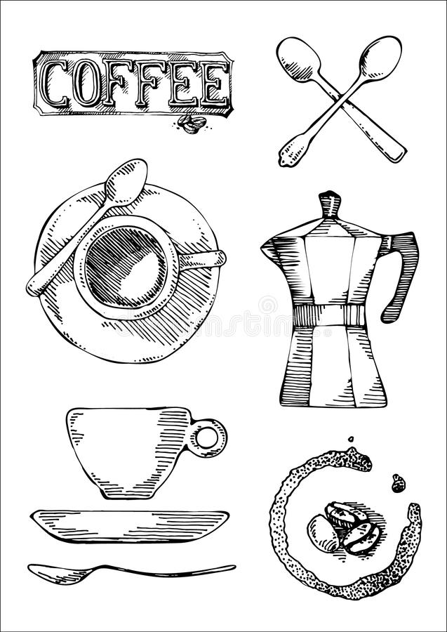 Hand drawn icon set of coffee sign, cup, pot, for cafeteria menu or sign stock photo