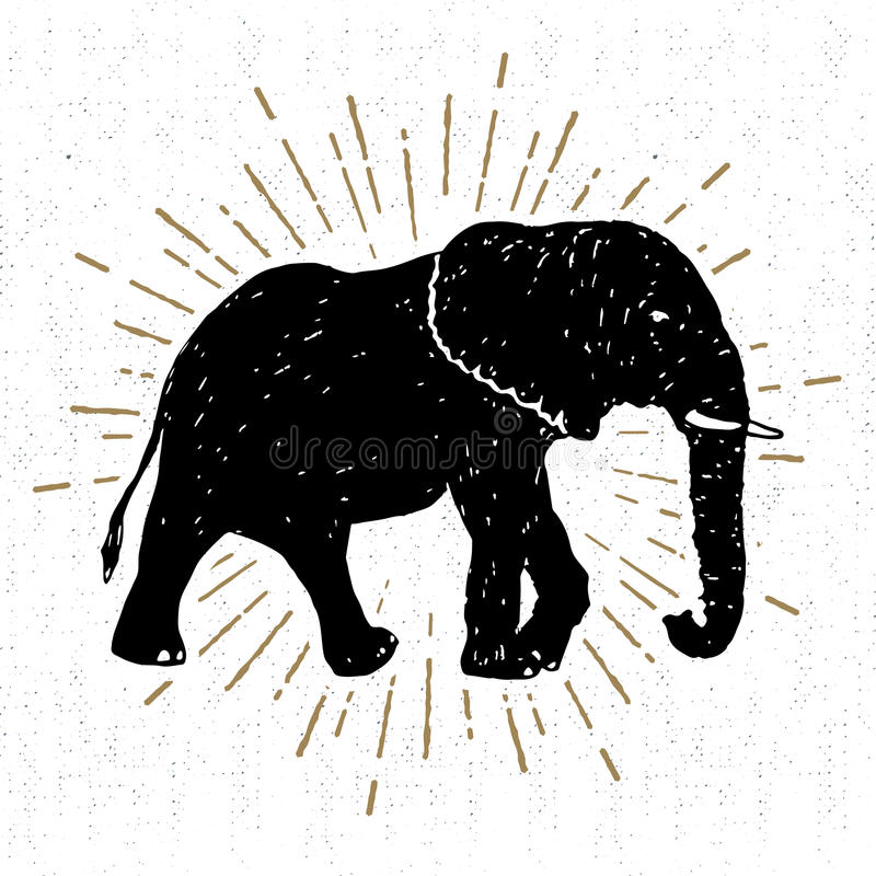 Download Hand Drawn Icon With Textured Elephant Vector Illustration Stock Vector - Illustration of illustration, mascot: 92365424