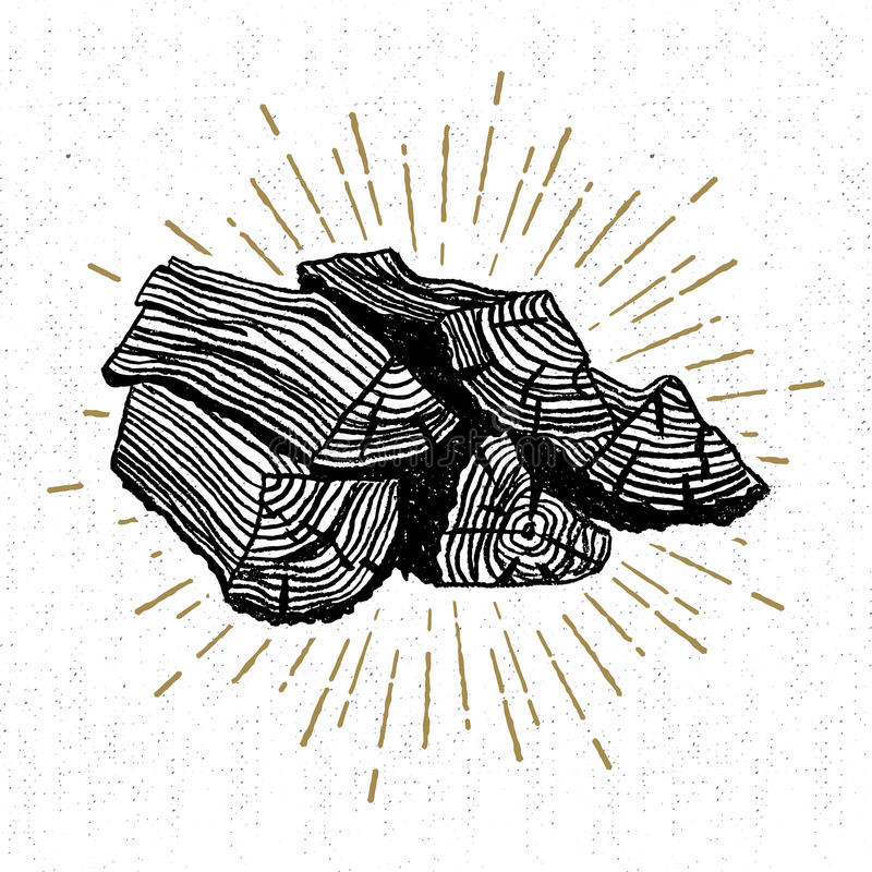 Hand drawn icon with a textured wood pile vector illustration vector illustration