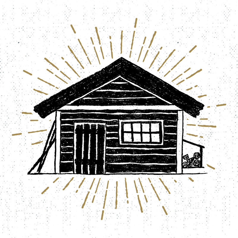 Hand drawn icon with a textured wooden cabin vector illustration vector illustration
