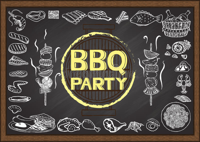 Hand drawn icons about Barbecue party on chalkboard. Hand drawn icons about Barbecue party on chalkboard vector illustration