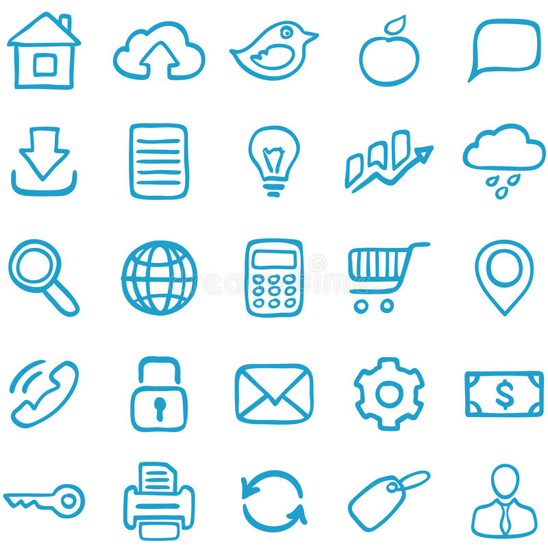Hand-drawn icons for design. royalty free illustration