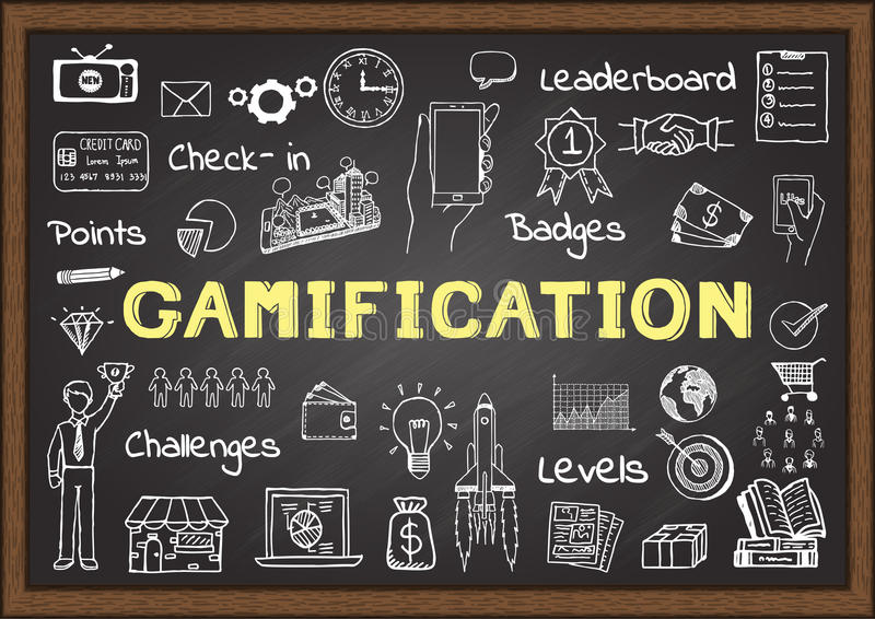 Hand drawn icons about gamification on chalkboard, marketing concept royalty free illustration