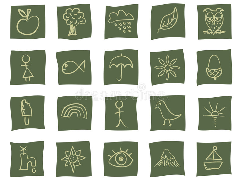 Hand drawn icons on green vector illustration