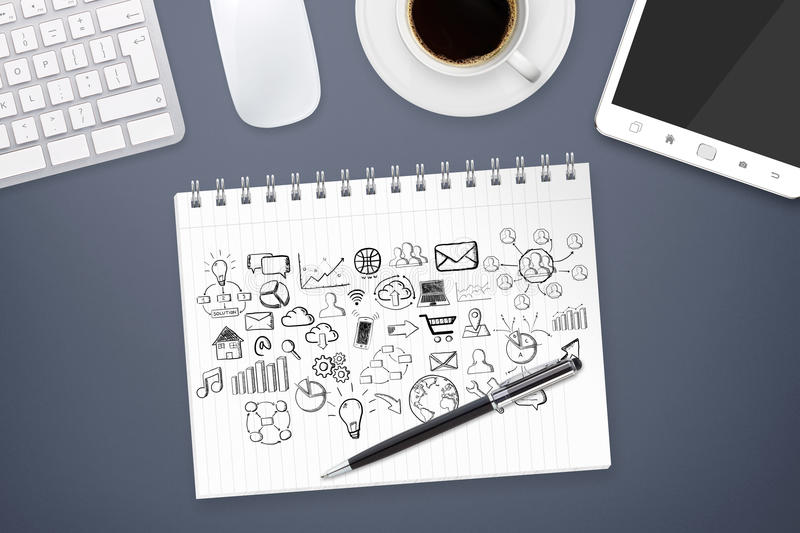 Hand drawn icons on office background. Hand drawn icons on a white paper on office background vector illustration