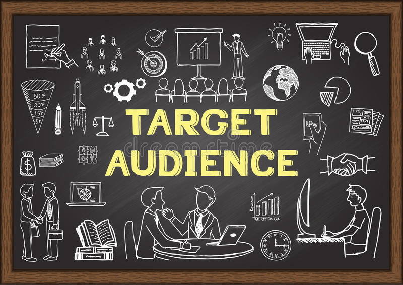 Hand drawn icons about Target audience on chalkboard vector illustration
