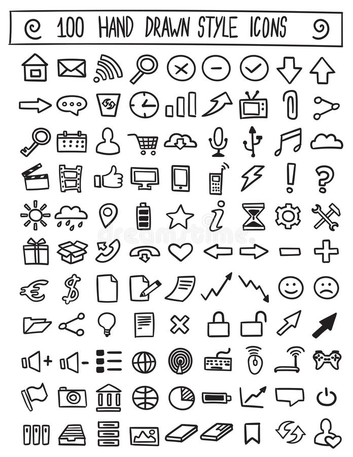 Free Hand Drawn Icons Vector Set Royalty Free Stock Photography - 71627107