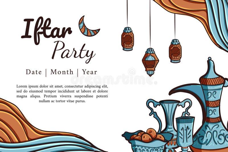 Hand drawn iftar party horizontal greeting card stock photo