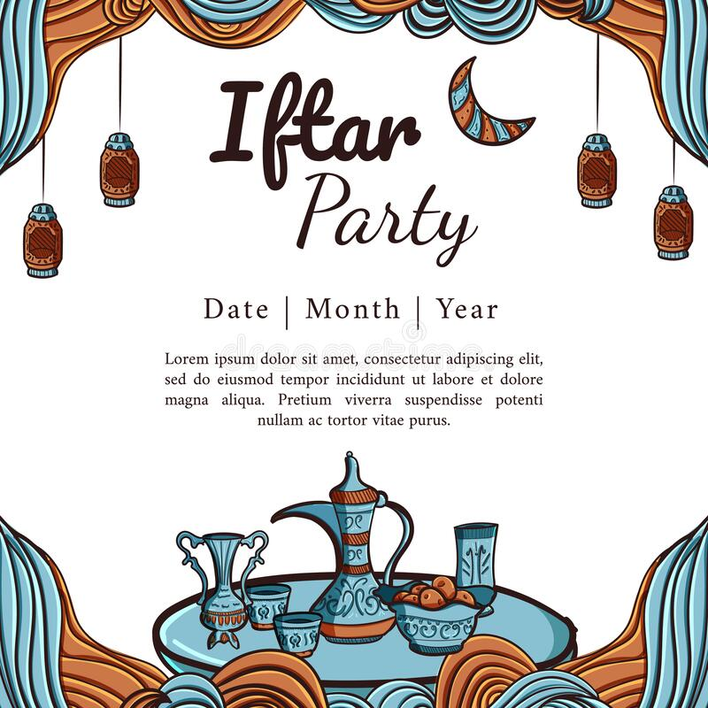 Hand drawn iftar party square banner stock photos