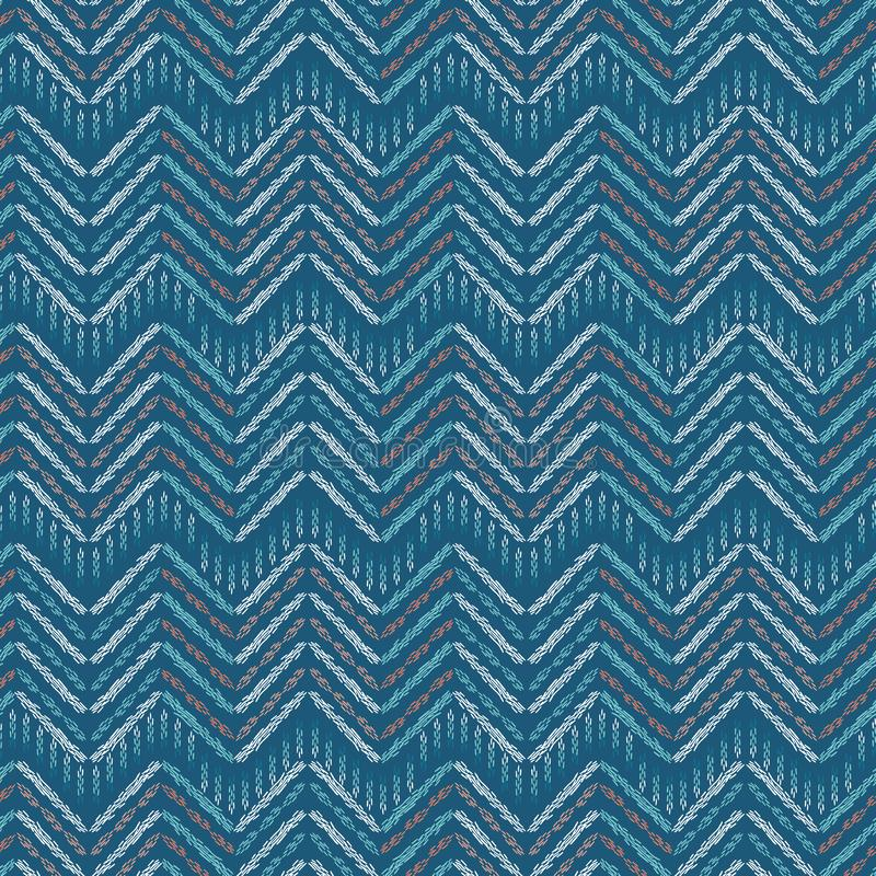 Hand drawn ikat chevron pattern fill. Seamless vector textile background. Woven ethnic marks in damask herringbone stripe. Boho. Hand drawn chevron pattern fill vector illustration