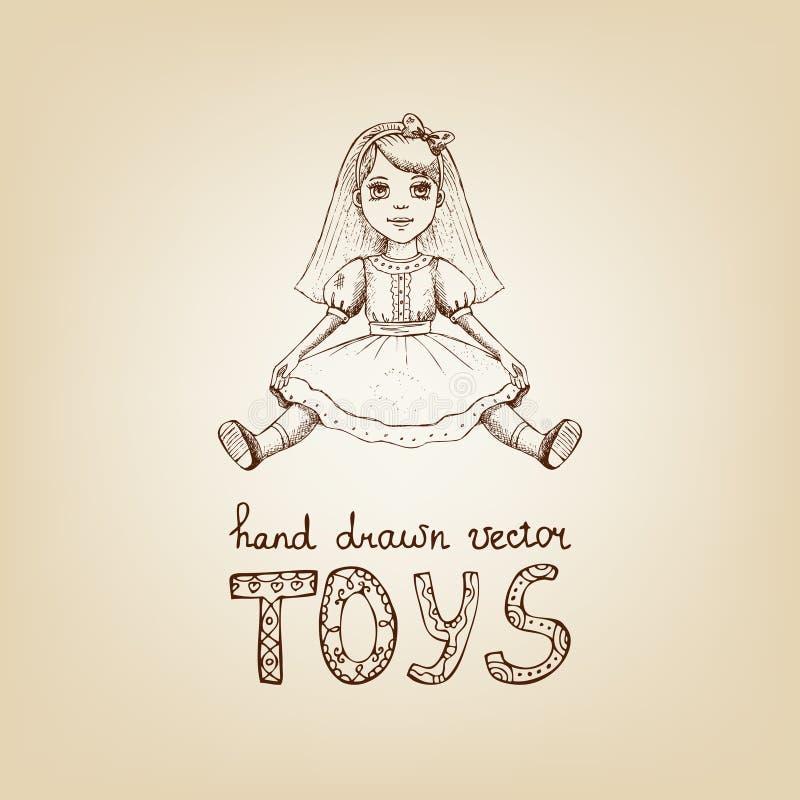 Hand-drawn illustratie van een uitstekende stuk speelgoed pop royalty-vrije illustratie