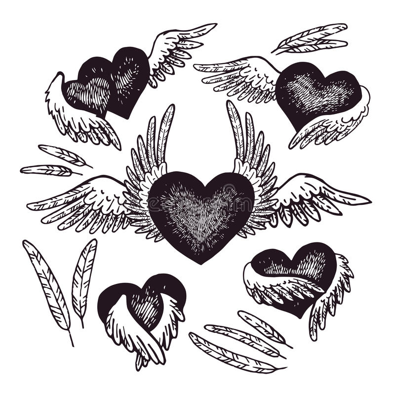 Hand-drawn illustratie van hart met engelenvleugels Vector illustratie Uitstekend art. vector illustratie