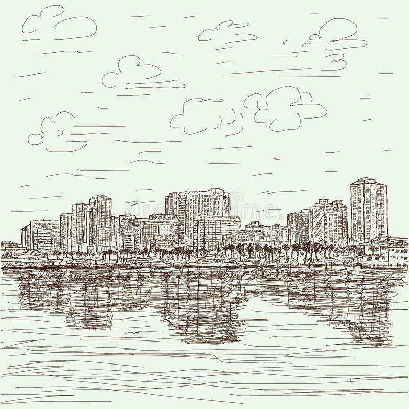 Hand-drawn cityscape vector illustratie