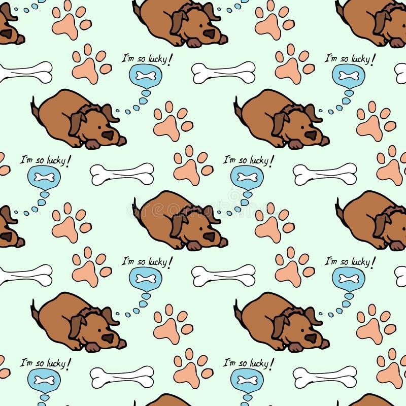 hand-drawn illustraties De droom van een hond is een been Naadloos patroon vector illustratie