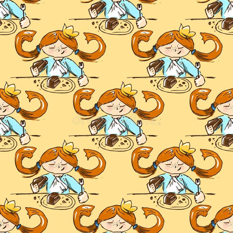 hand-drawn illustraties Kaart met een prinses Roodharig meisje met een cake Geen groenten! cakes, cakes, cakes! Naadloos patroon stock illustratie