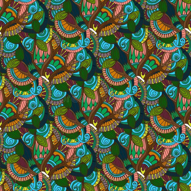 hand-drawn illustraties Kleuren natuurlijke abstractie Naadloos patroon royalty-vrije illustratie