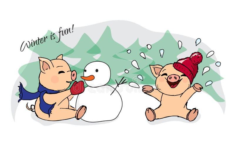hand-drawn illustraties Nieuwe jaaruitnodiging De winterkaart met varkens Kinderen die met sneeuw spelen Biggetjes en sneeuwman royalty-vrije illustratie