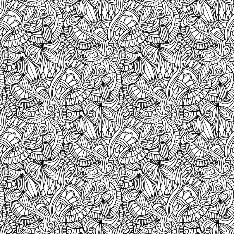 hand-drawn illustraties Zwart-witte abstractie Naadloos patroon royalty-vrije illustratie