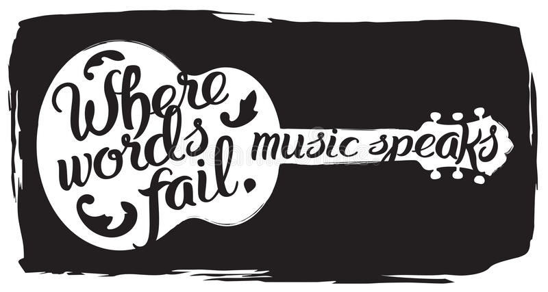 Hand drawn illustration with acoustic guitar and lettering quote. Where words fail, music speaks. Hans Christian Andersen vector illustration