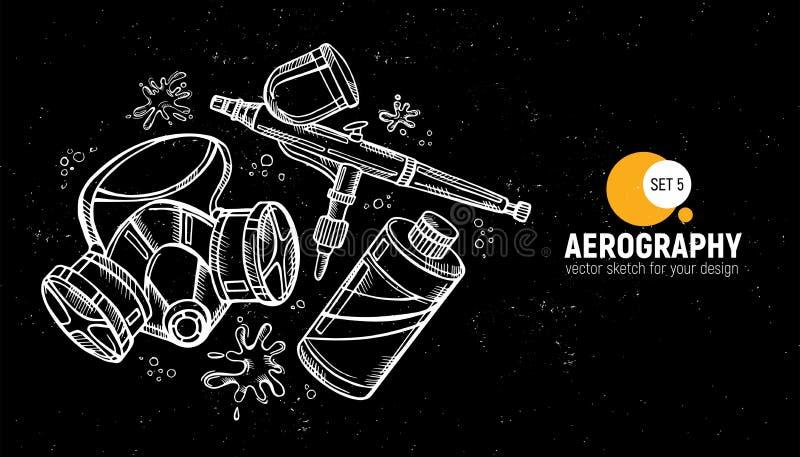 Hand drawn  illustration of aerography tools. Protective mask, respirator, airbrush and paint. Set 5. Hand drawn  illustration of aerography tools. Protective royalty free illustration