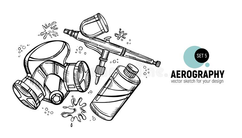 Hand drawn  illustration of aerography tools. Protective mask, respirator, airbrush and paint. Set 5. Hand drawn  illustration of aerography tools. Protective vector illustration
