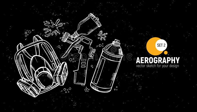Hand drawn  illustration of aerography tools. Protective mask, respirator, airbrush and spray paint. Set 2. Hand drawn  illustration of aerography tools stock illustration