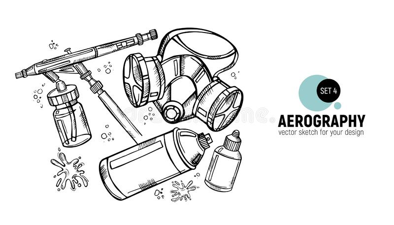 Hand drawn  illustration of aerography tools. Protective mask, respirator, airbrush and spray paint. Set 4. Hand drawn  illustration of aerography tools royalty free illustration