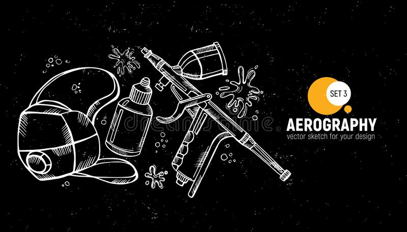 Hand drawn  illustration of aerography tools. Protective mask, respirator, airbrush and spray paint. Set 3. Hand drawn  illustration of aerography tools stock illustration