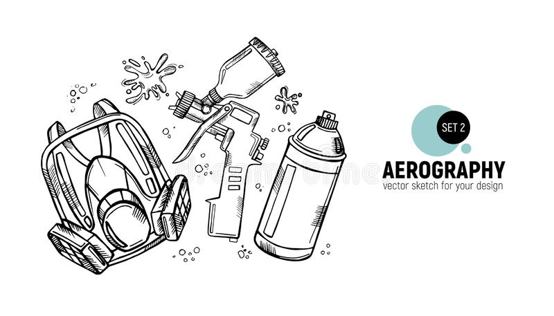 Hand drawn  illustration of aerography tools. Protective mask, respirator, airbrush and spray paint. Set 2. Hand drawn  illustration of aerography tools royalty free illustration