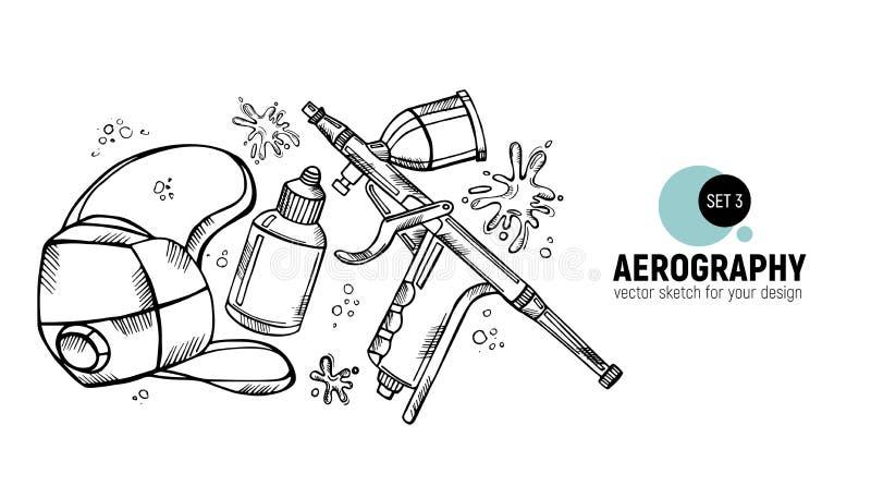 Hand drawn  illustration of aerography tools. Protective mask, respirator, airbrush and spray paint. Set 3. Hand drawn  illustration of aerography tools vector illustration