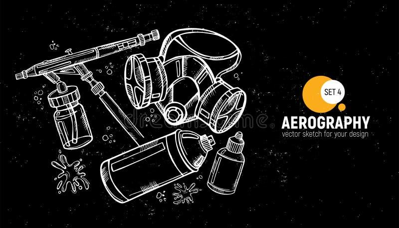 Hand drawn  illustration of aerography tools. Protective mask, respirator, airbrush and spray paint. Set 4. Hand drawn  illustration of aerography tools vector illustration